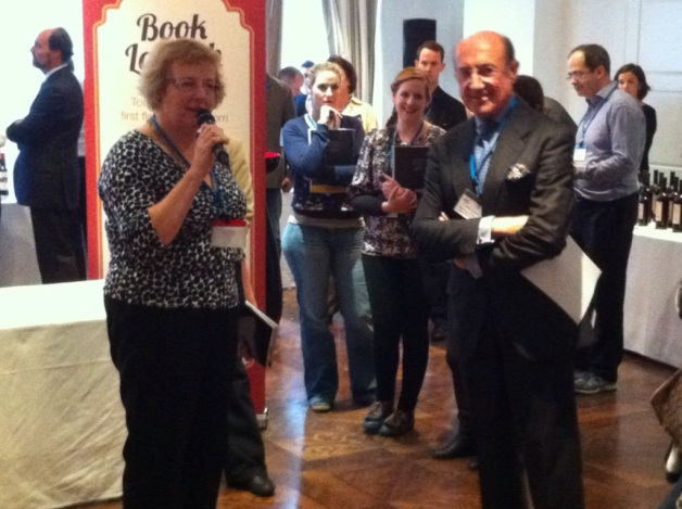 "Sarah Jane Evans MW and Beltrán Domecq at the launch of ""Sherry Uncovered - Tasting & Enjoyment"